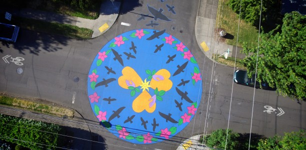 Crows' Heart street mural at SE 67th & Woodward