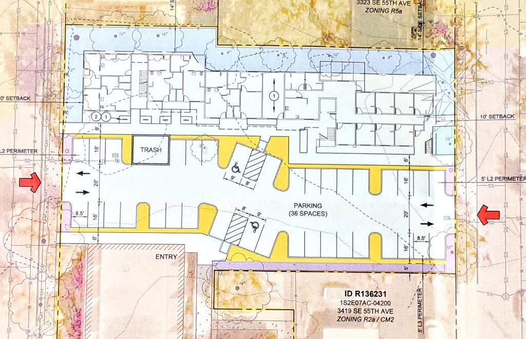Concept site plan for Findley Commons housing project at St. Mark's Church site on SE Powell