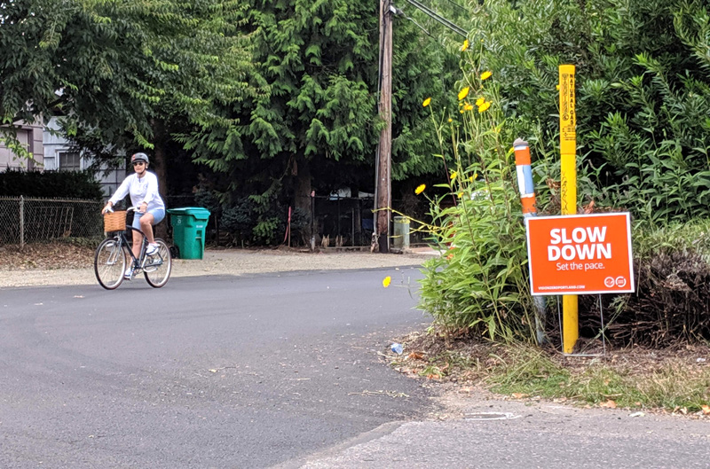 Person on bicycle at intersection with Slow Down sign